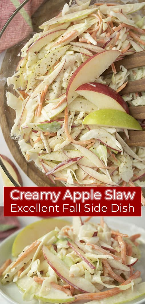 Long pin with red banner text on image Creamy Apple Slaw Excellent Fall Side Dish
