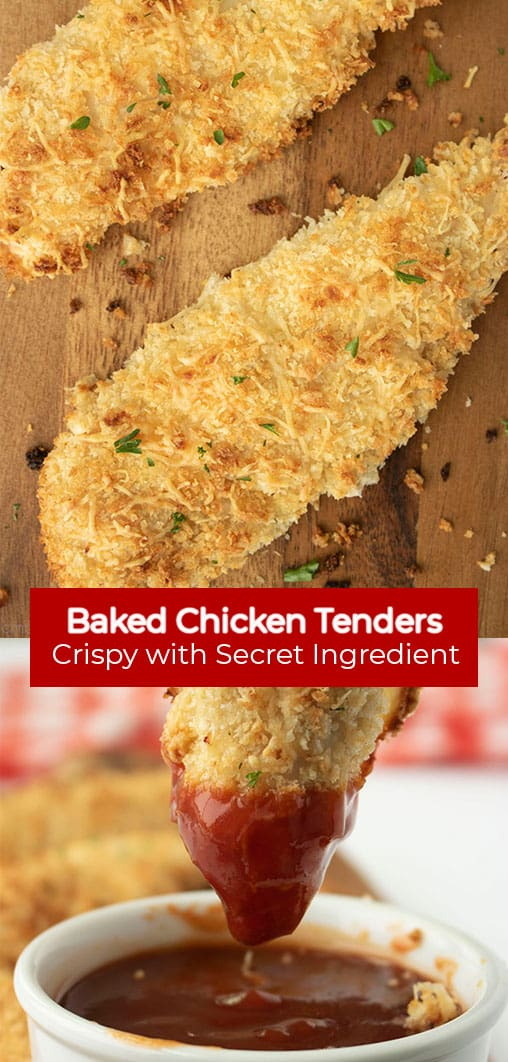 Long pin collage with red banner text Baked Chicken Tenders Crispy with Secret Ingredient