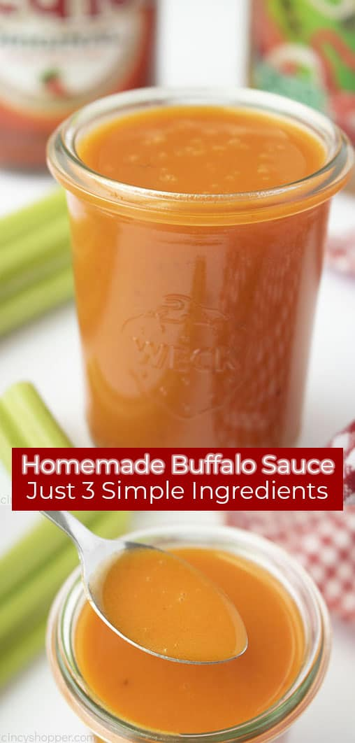 Long Pin with text on red banner Homemade Buffalo Sauce Just 3 Simple Ingredients