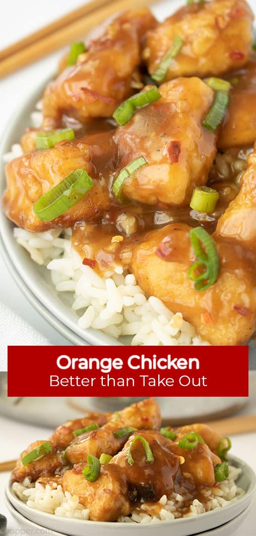 Long Pin text banner Orange Chicken Better than Take Out