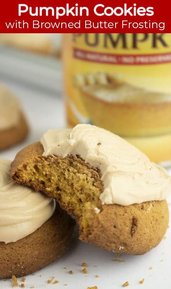 Long pin with red banner text Pumpkin Cookies with brown butter frosting