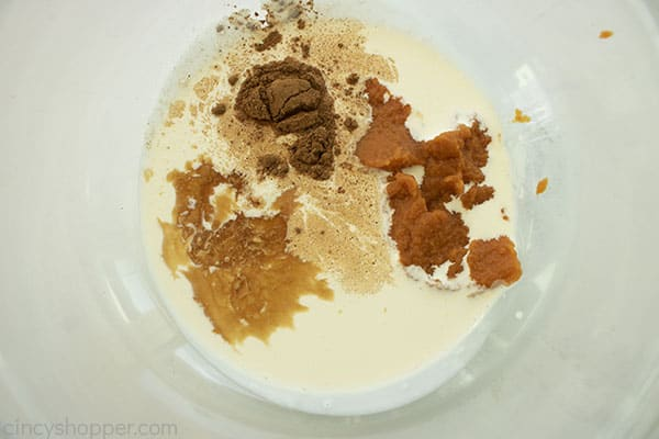 Pumpkin Spice Creamer ingredients in a clear bowl