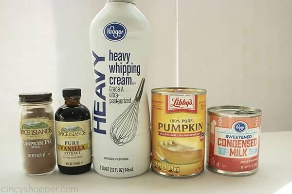 Ingredients for Pumpkin Ice Cream on a white background