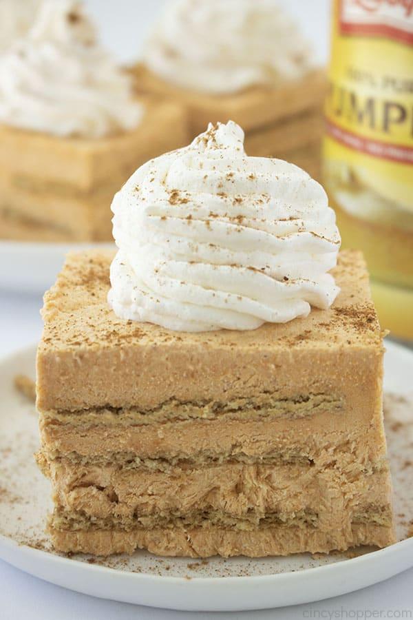 Close up shot of Pumpkin Icebox Cake