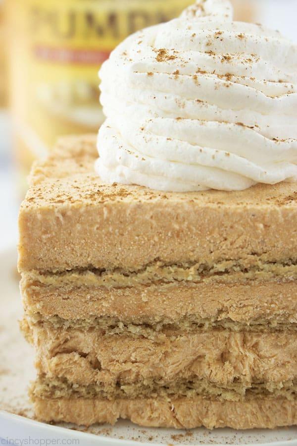 Close up image of No Bake Pumpkin Icebox Cake