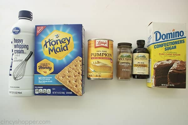 Overhead image of all the ingredients for the Pumpkin Icebox Cake