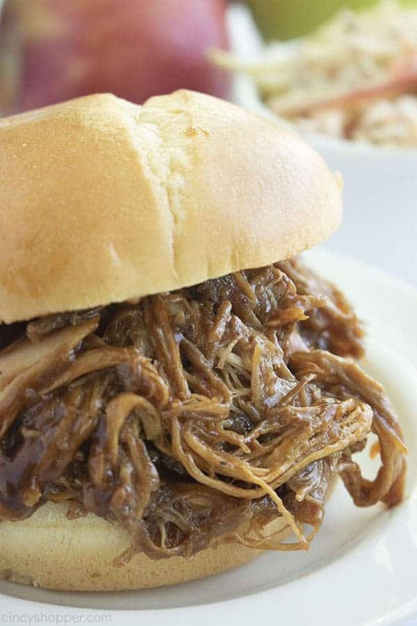 Close up shot of Slow Cooker Apple Cider Pulled Pork