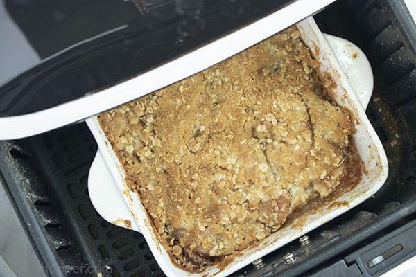 Baked apple crisp inside Air Fryer