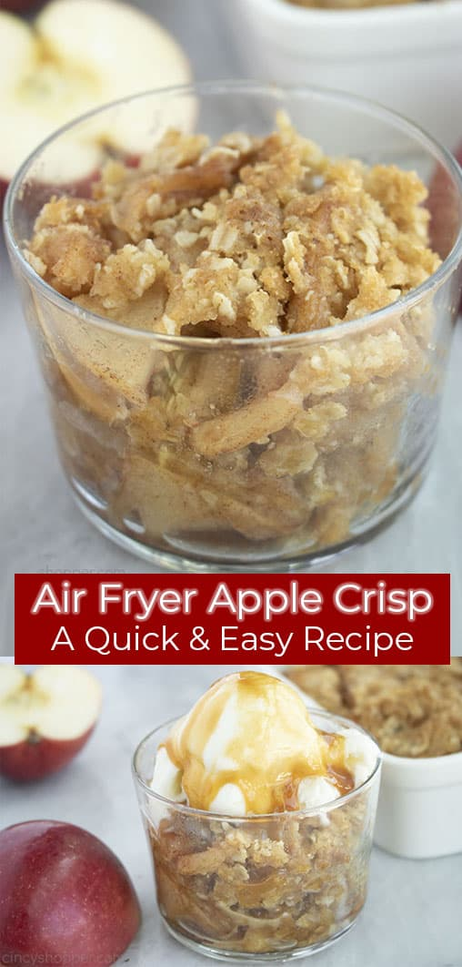 Long Pin with red text banner Air Fryer Apple Crisp A Quick & Easy Recipe