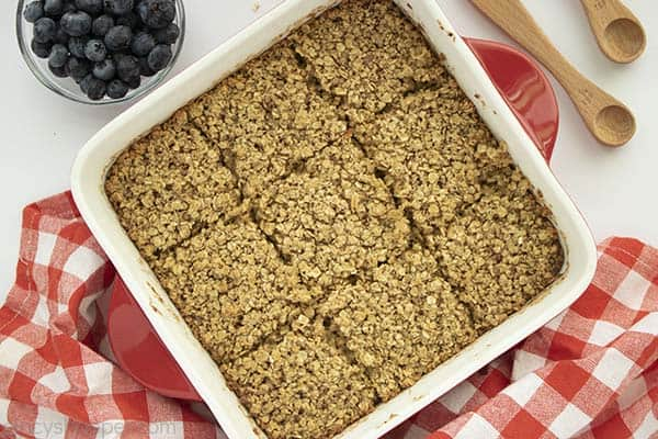 Amish Baked Oatmeal in a white dish