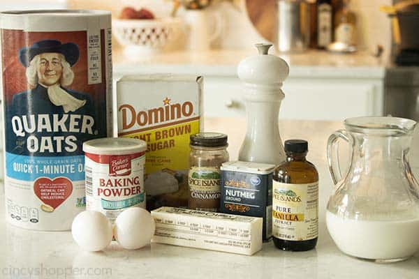 Ingredients for Baked Oatmeal Casserole