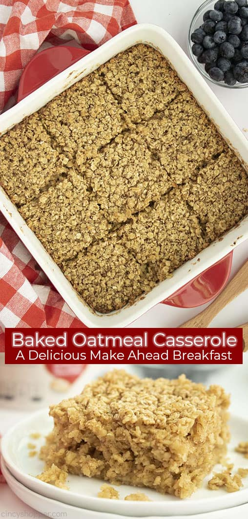 Long pin collage with red banner text Baked Oatmeal A Delicious Make Ahead Breakfast