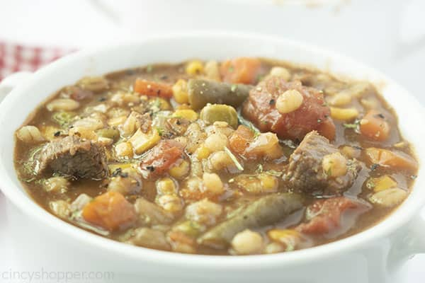 Barley soup on a white bowl