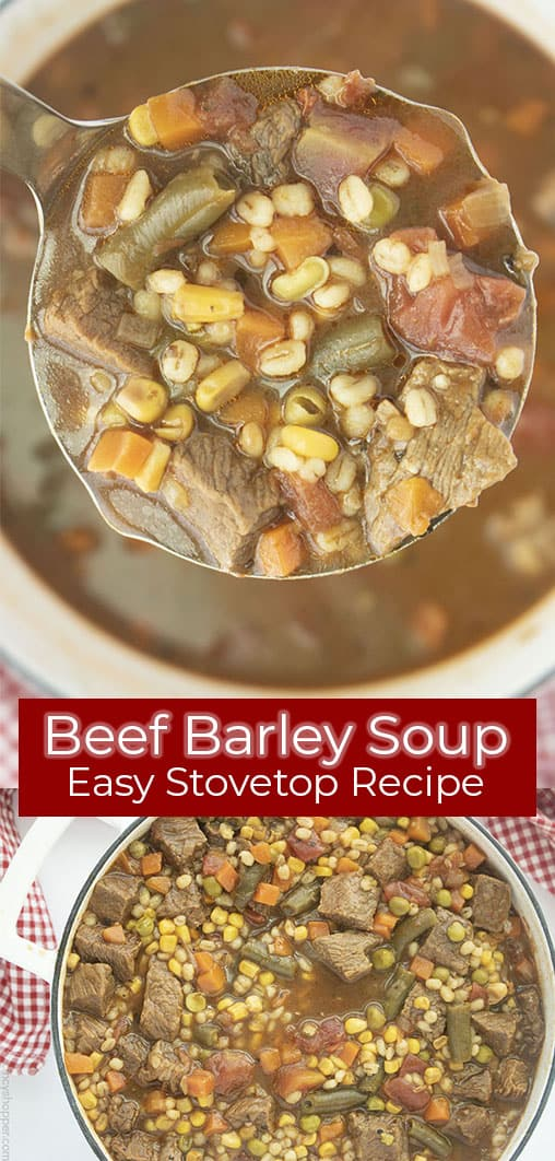 Long pin collage with banner text Beef Barley Soup Easy Stovetop Recipe