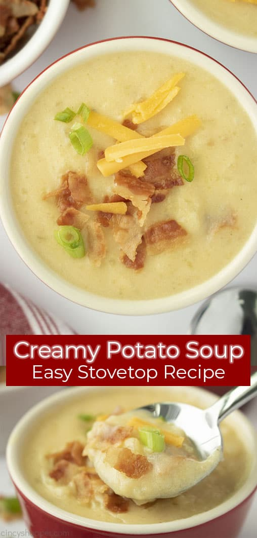 Long pin collage with banner text Creamy Potato Soup Easy Stovetop Recipe