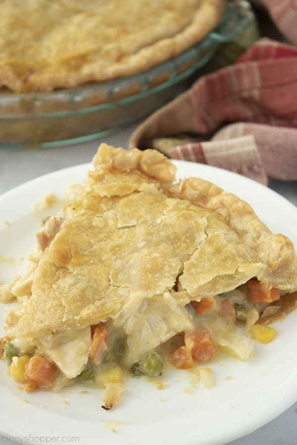 Easy Chicken Pot Pie slice on a white plate.