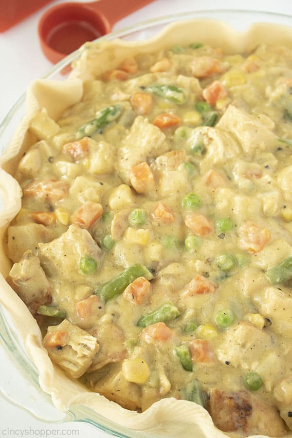 Chicken Pot Pie filling added to pie crust.