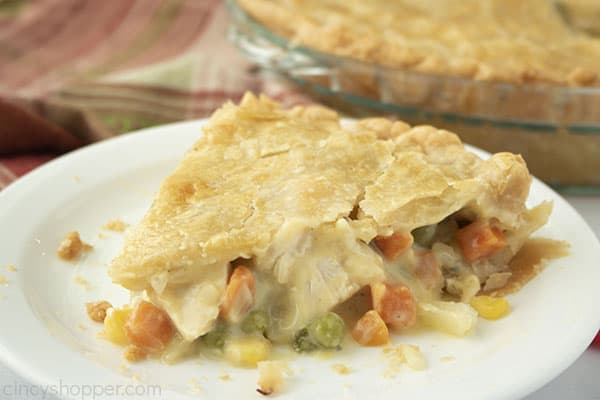 Slice of easy chicken pot pie on a white plate.