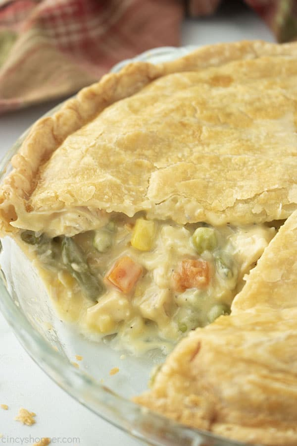 Whole Chicken Pot Pie with slice removed.