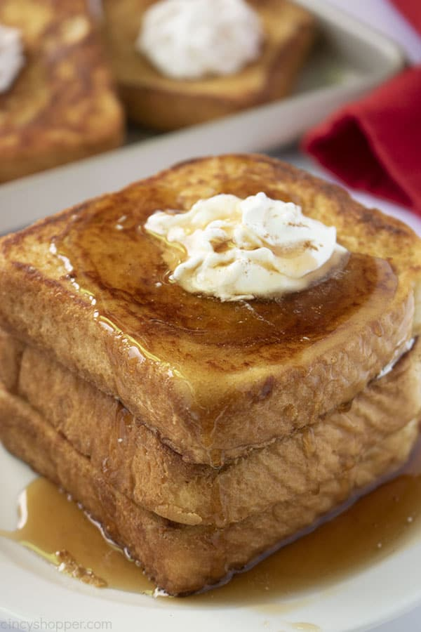 Stack of Best French Toast with syrup