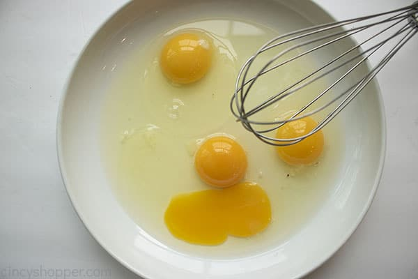 Eggs in white dish