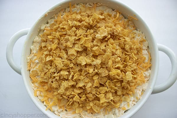 Cornflake topping added to potatoes