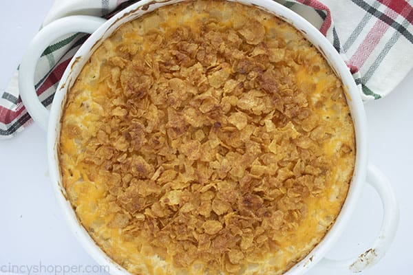 Potatoes with cornflake topping in a round dish