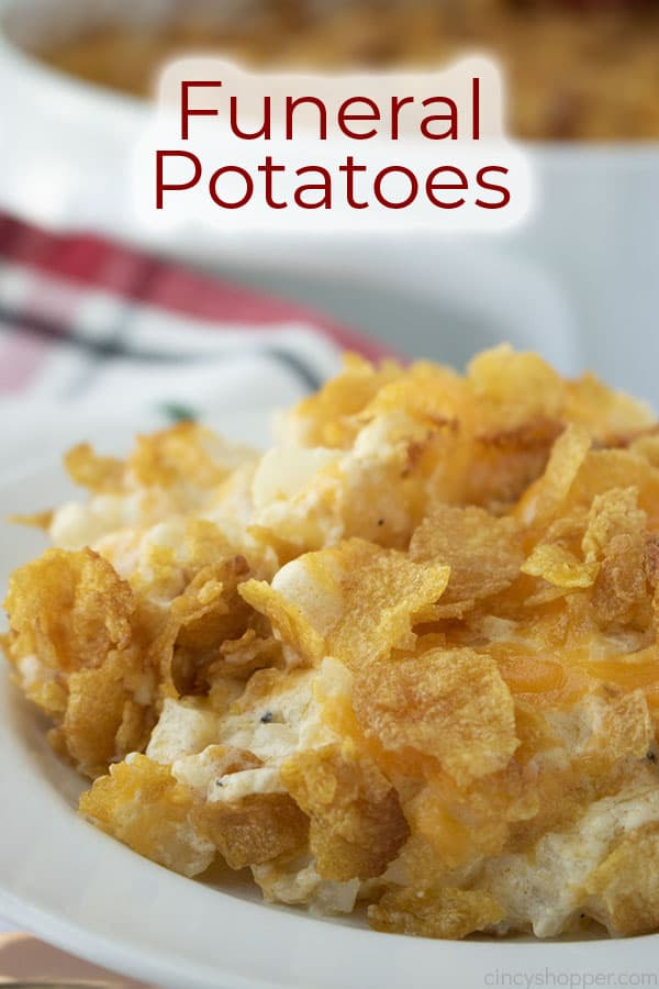 Plate shot with text on image Funeral Potatoes