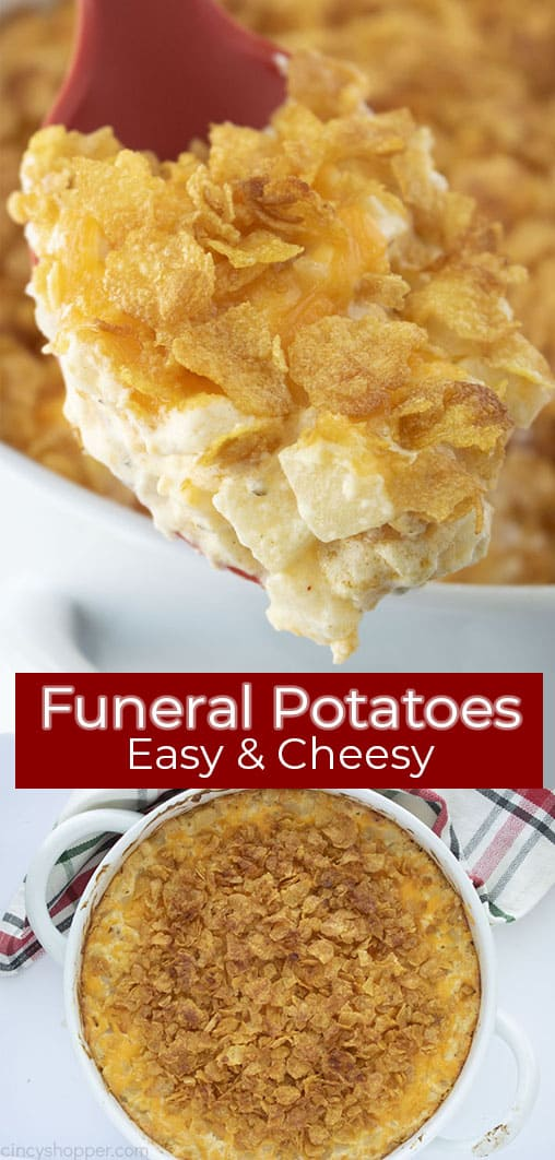 Long pin collage with red text banner Funeral Potatoes Easy & Cheesy