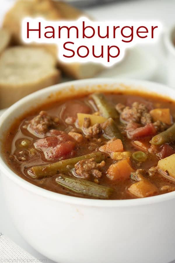 Text on image Hamburger Soup