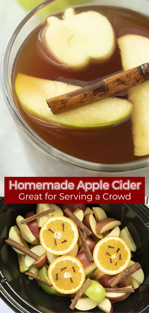 Long Pin collage with text Homemade Apple Cider Great for serving a Crowd