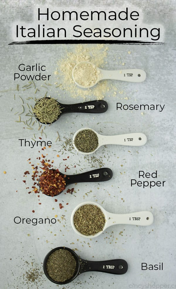 Homemade Italian Seasoning on a gray board