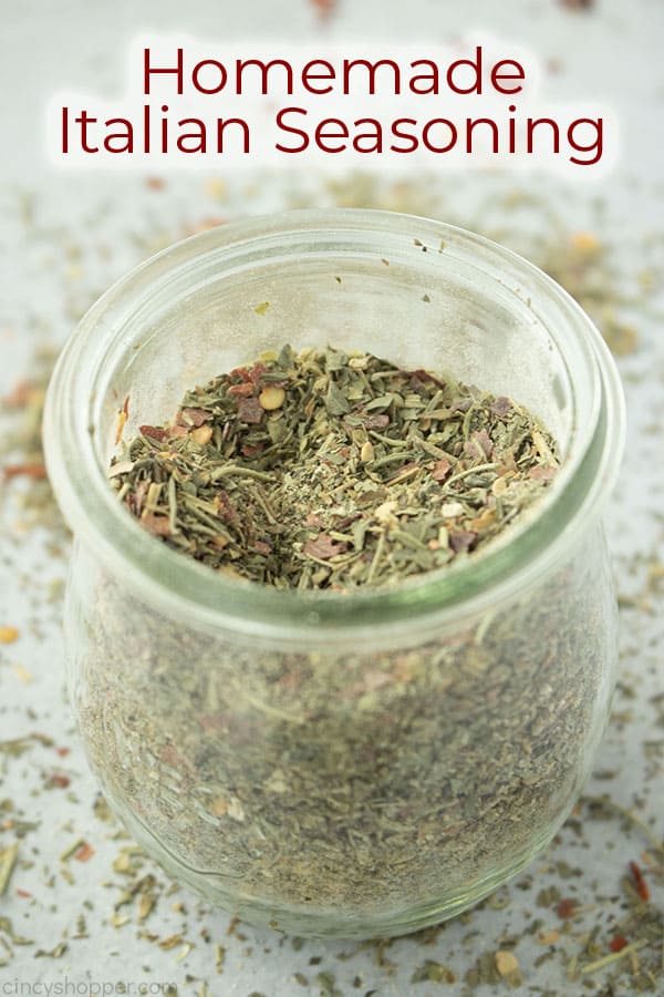 Text on image Homemade Italian Seasoning jar shot