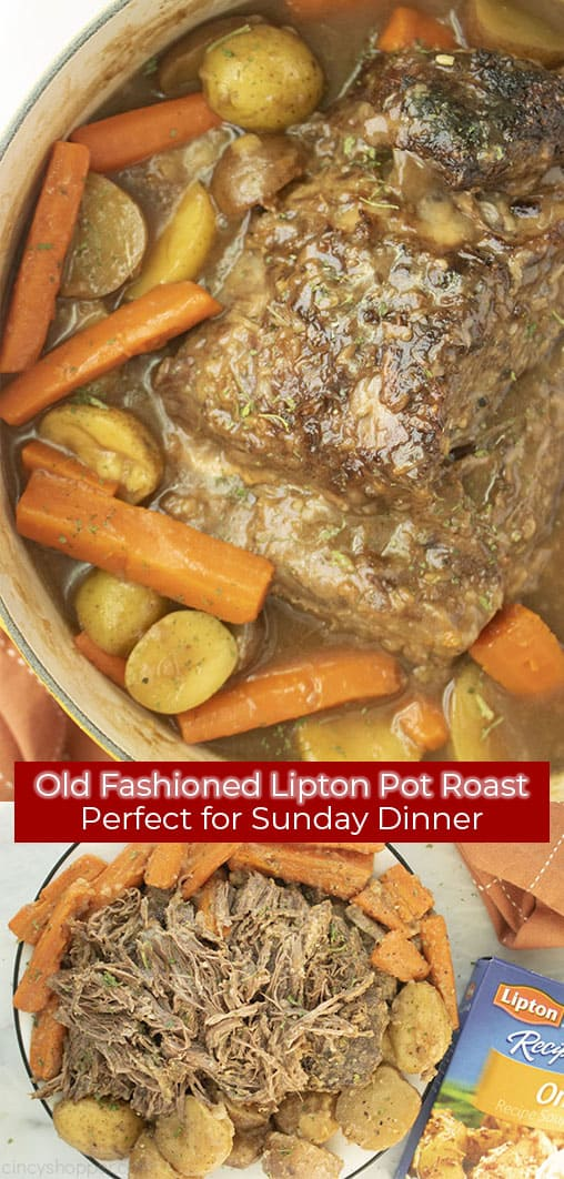 Long pin collage with red banner with text Old Fashioned Lipton Pot Roast Perfect for Sunday Dinner