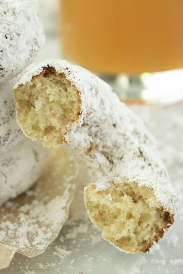 Powdered Sugar Donut broke in half