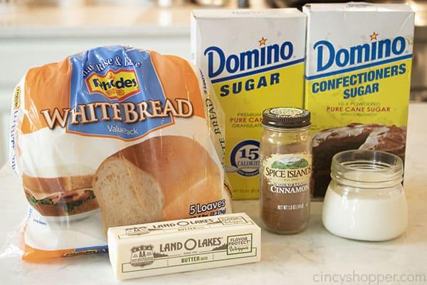 Ingredients for easy cinnamon bread