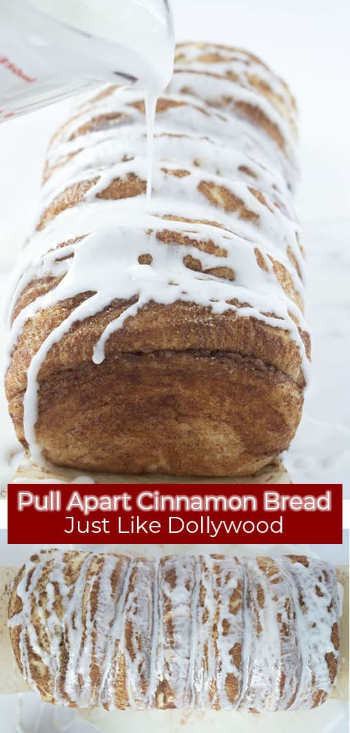 Long pin collage with red text banner Pull Apart Cinnamon Bread Just Like Dollywood
