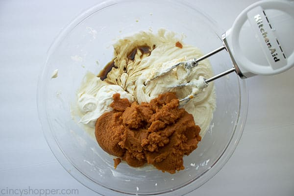 Pumpkin, vanilla, sour cream, pumpkin pie spice added to cheesecake mixture