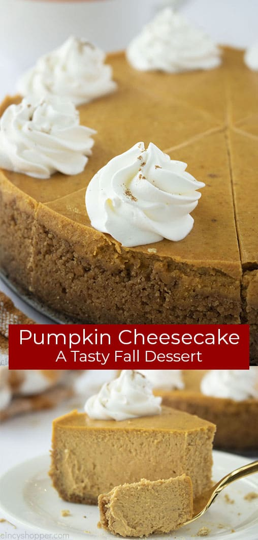 Long pin collage with banner text Pumpkin Cheesecake A tasty Fall Dessert