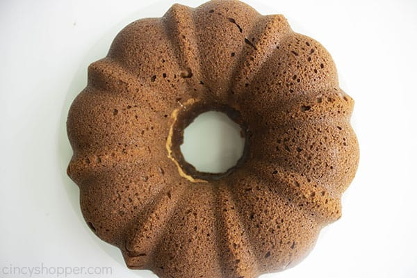 Baked Pumpkin bundt cake on a white board
