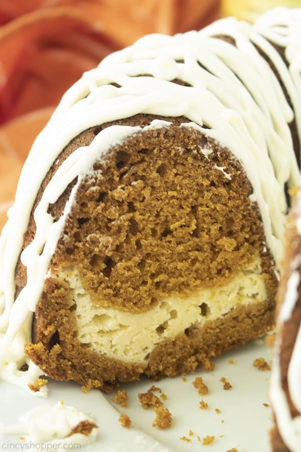 Closeup of Pumpkin Bundt Cake with Cream Cheese filling