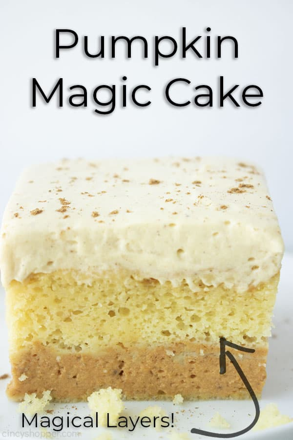 Text on image Pumpkin Magic Cake with Magical layers
