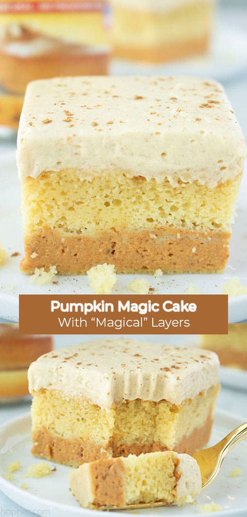 Long pin collage with banner Pumpkin Magic Cake with
