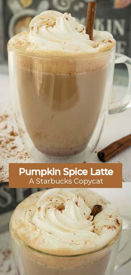 Long Pin collage with text banner Pumpkin Spice Latte A Starbucks CopyCat