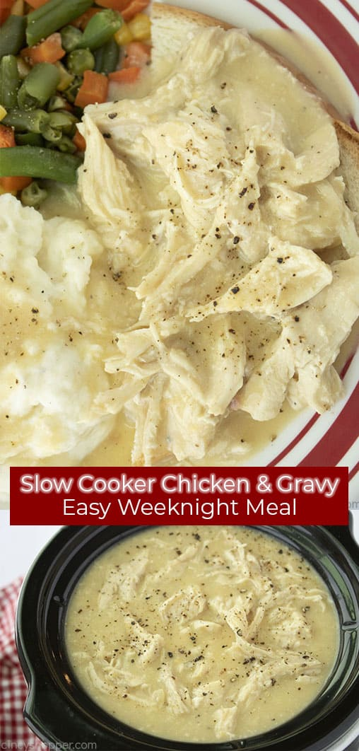Long Pin collage with red banner Slow Cooker Chicken & Gravy Easy Weeknight Meal