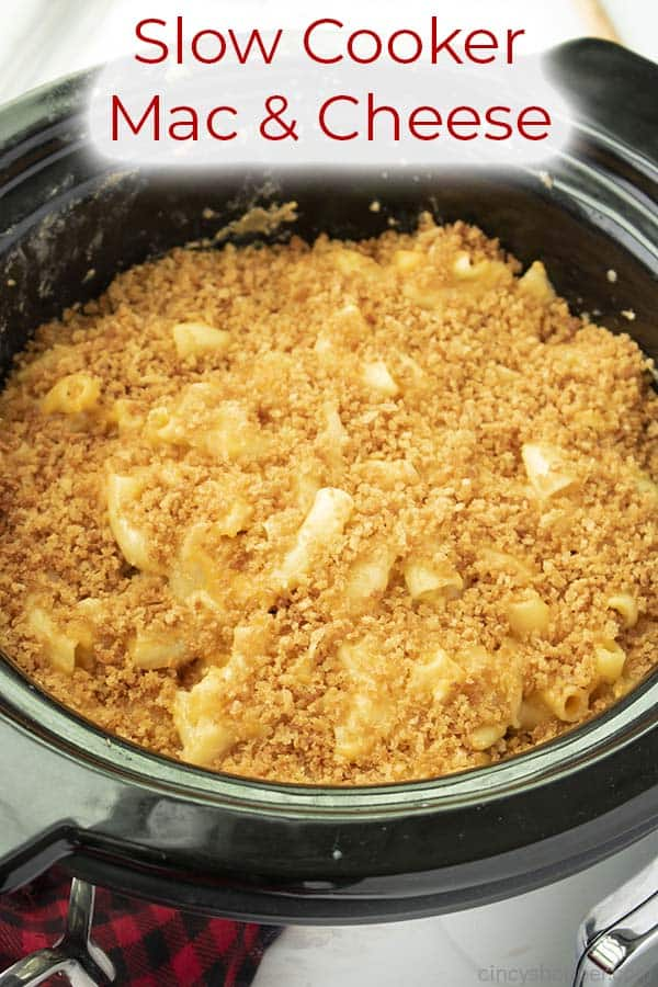 Text on image Slow Cooker Mac & Cheese
