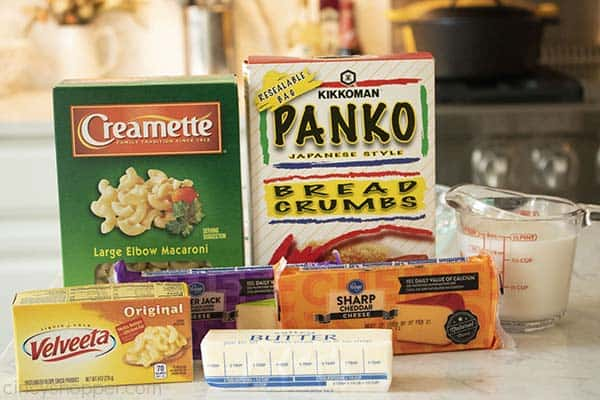 Ingredients for CrockPot macaroni and cheese