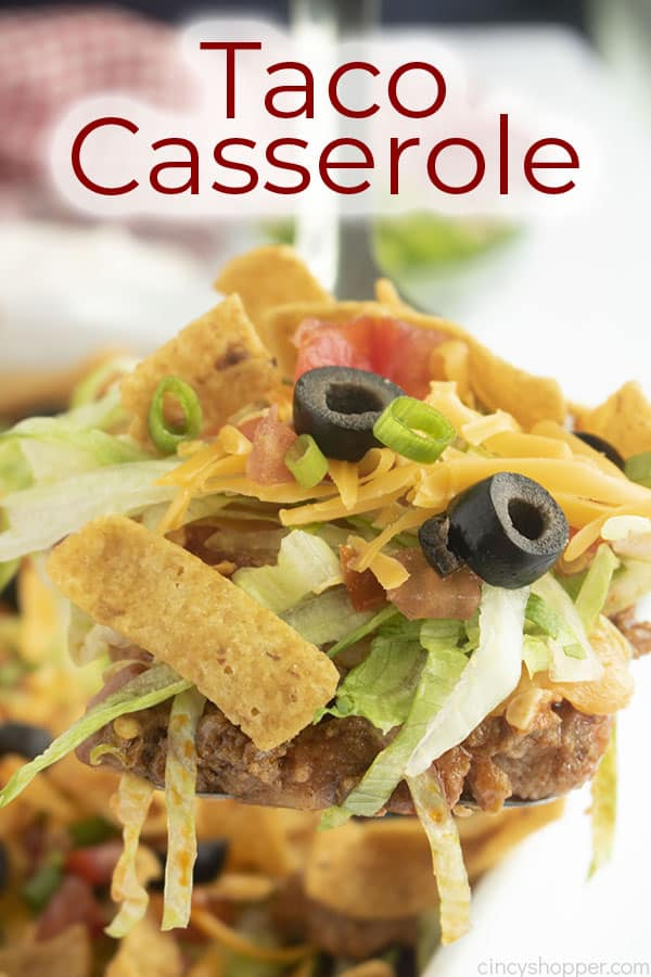 Text on image Taco Casserole