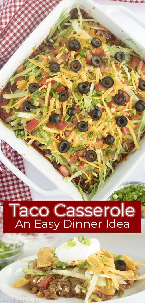 Long Pin collage with red text banner Taco Casserole An Easy Dinner Idea