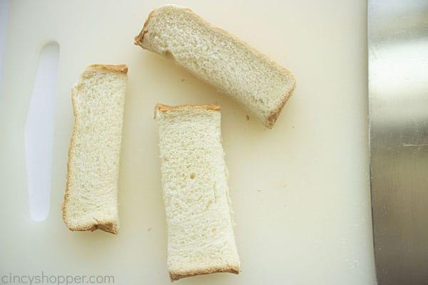 Bread cut into 1/3's